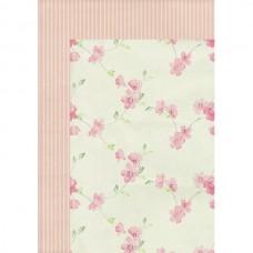 """Бумага для скрапбукинга двухсторонняя """"Цветы на розовом"""" формат А4 220 г/м2"""
