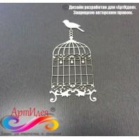 """Чипборд картонный """"Клетка с птичкой №2"""" Арт. Ч0017"""