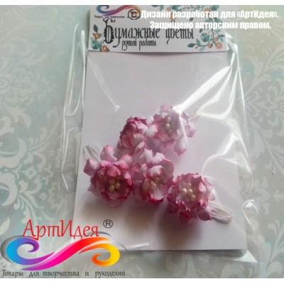 "Цветы для скрапбукинга ""Кудрявая роза"" цвет розовый, диаметр 3,5 см 5 шт. Арт. 420"