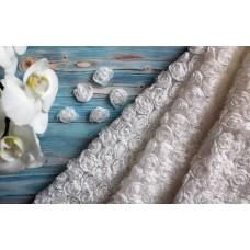 Ткань фактурная Розы на сетке цвет белый